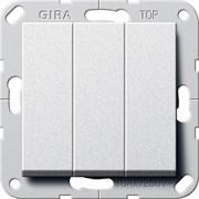 Выключатель Gira самовозвратом 3-клавишный Алюминий (284426)
