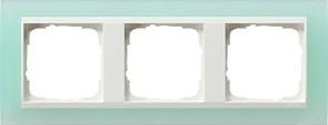 Рамка 3-пост для центральных вставок белого цвета, Gira Event Матовый салатовый